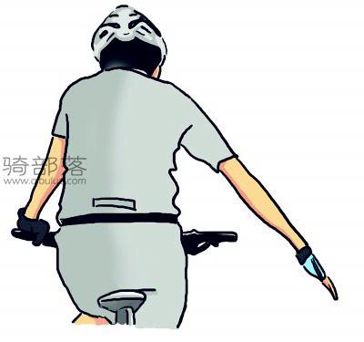 山地车编队骑行手势图解:注意障碍