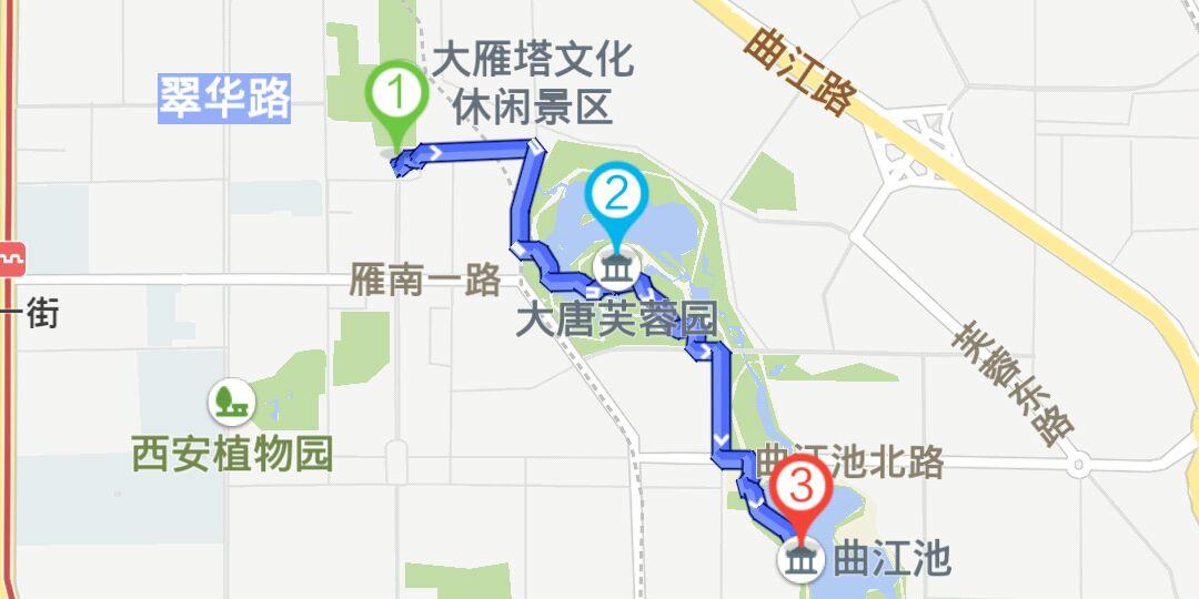 西安曲江新区骑行路线