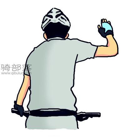 山地车编队骑行手势图解:前进