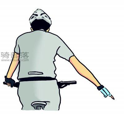 山地车编队骑行手势图解:避让障碍