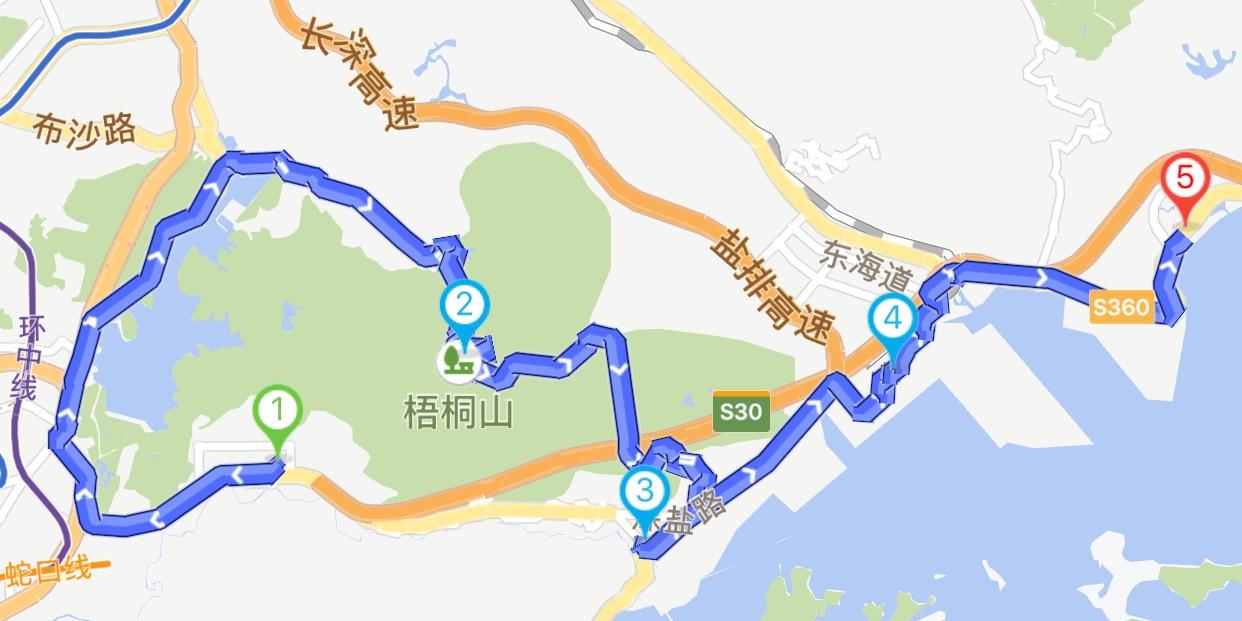 深圳大梅沙骑行路线